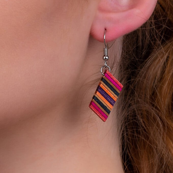 Genjang earrings made from recycled materials from a skateboard