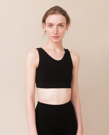 JO Bamboo Cropped Vest Top In Black from Beaumont Organic