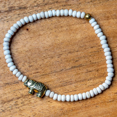 Tulsi Bead Meditation Bracelet with Elephant Charm from chaYkra