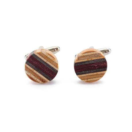 Recycled Skateboard Wooden Round Cufflinks from Paguro Upcycle