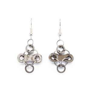 Diamond Stainless Steel Bicycle Chain Earrings from Paguro Upcycle