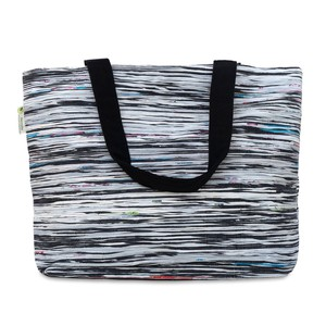 Black Colourful Strip Beach Bag from Siyana London
