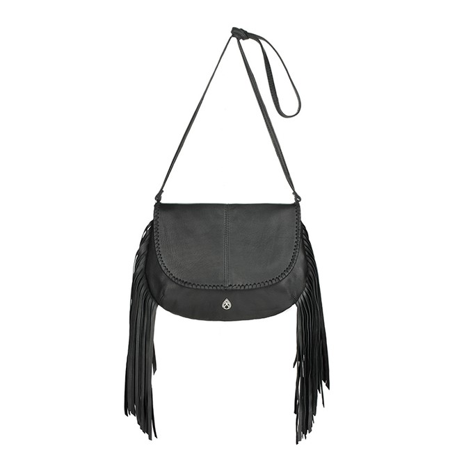 Lydia - black leather crossbody fringe bag with woven leather trims from Treasures-Design