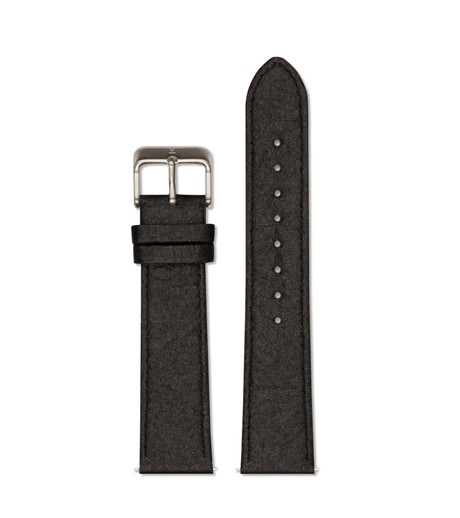 Piñatex Black with brushed silver buckle | 20mm from Votch