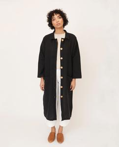 ABBEY Linen Jacket In Black from Beaumont Organic