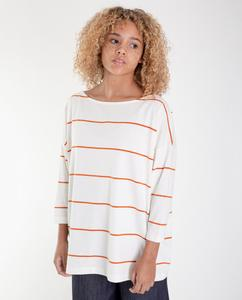 MAFALDA-SUE Organic Cotton Top In Off White And Madder from Beaumont Organic
