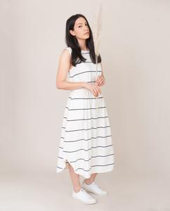 MULBERRY-SUE Organic Cotton Dress In Off White and Indigo from Beaumont Organic