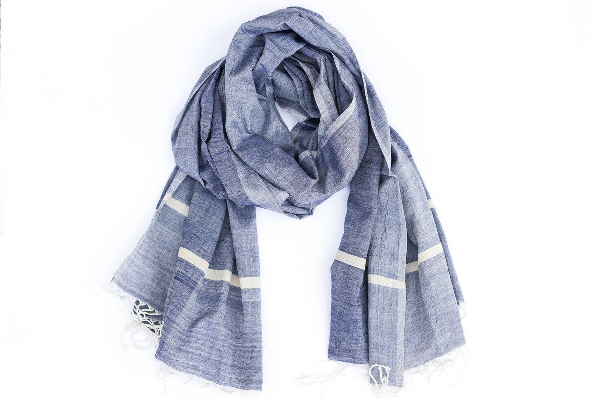 Blue Muslin Cotton Scarf from Siyana London