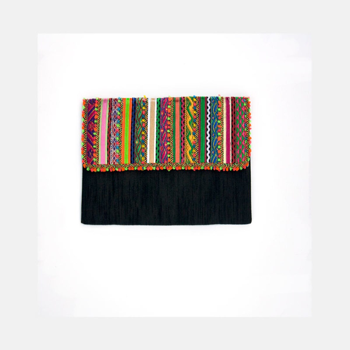 Rabari Flat Clutch Purse - Black from Siyana London