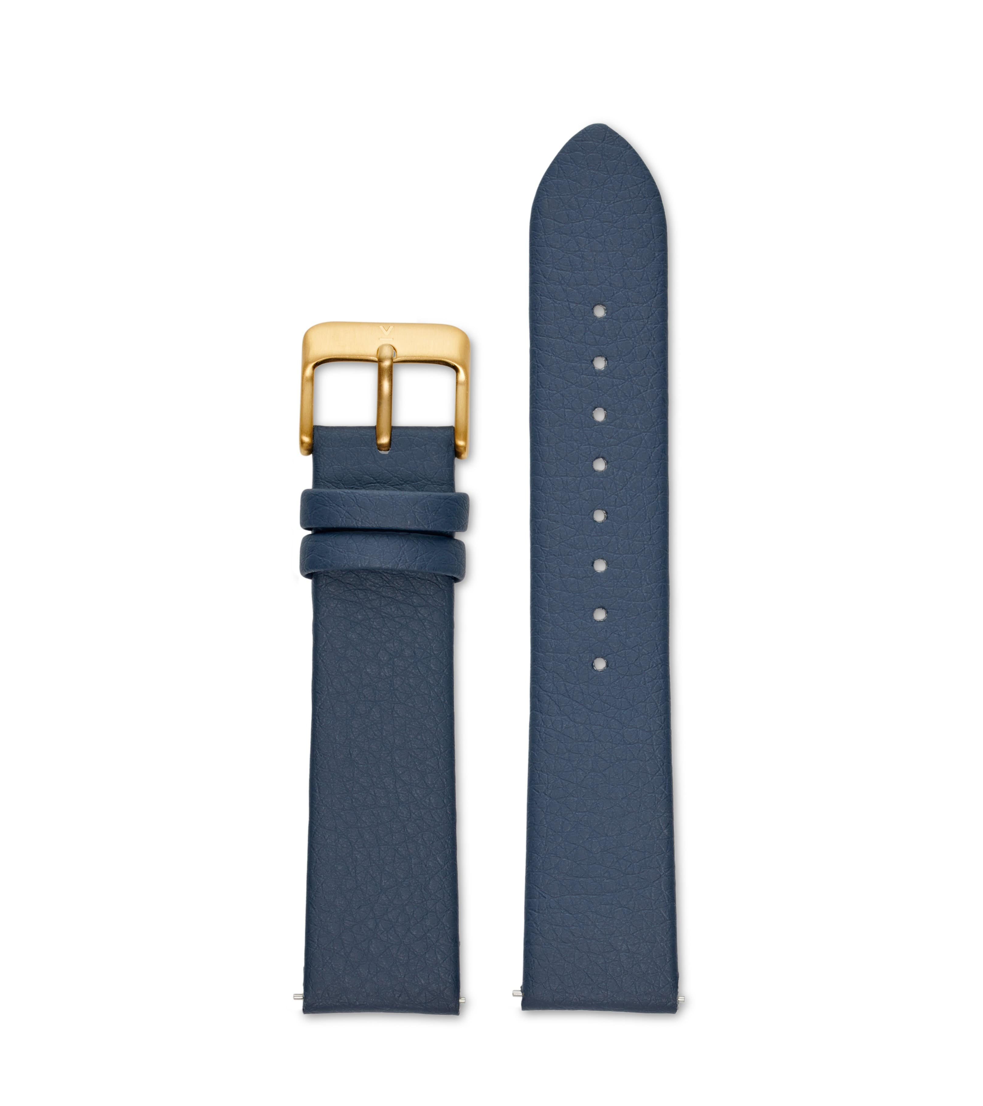 NAVY WITH BRUSHED GOLD BUCKLE   20MM from Votch